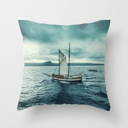 Whale spotting Iceland Throw Pillow