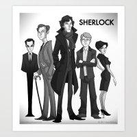sherlock Art Prints featuring Sherlock by Anna Rettberg