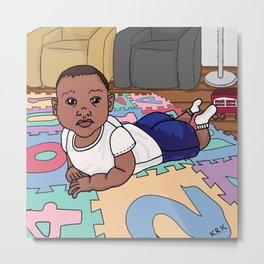 Baby On The Mat Metal Print