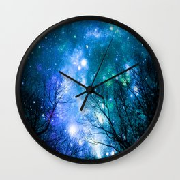 Black Trees Blue Turquoise Teal Space Wall Clock