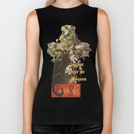 Easter Le Chat Noir de Paques With Floral Cross Biker Tank