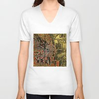 chicago V-neck T-shirts featuring chicago by Bekim ART
