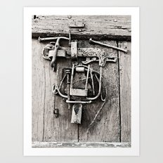 Old Wooden Door With Working Tools Sculpture B&W Art Print