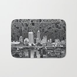 indianapolis city skyline black and white Bath Mat