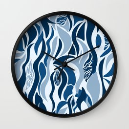 Abstract blue tribal art Wall Clock