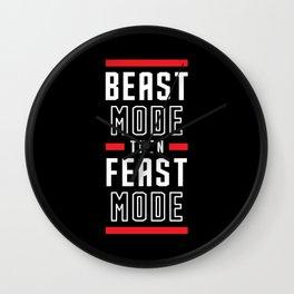 Beast Mode Then Feast Mode Wall Clock