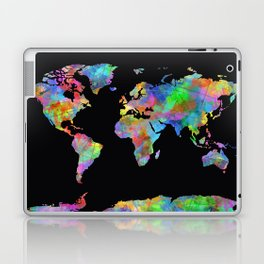 world map watercolor black 2 Laptop & iPad Skin
