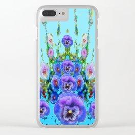 MODERN BLUE WESTERN GARDEN  PURPLE PANSY FLOWERS Clear iPhone Case