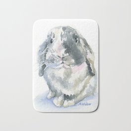 Gray and White Lop Rabbit Bath Mat