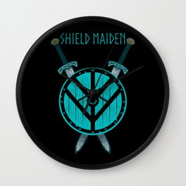 Viking Shield Maiden Badass Woman Warrior Wall Clock