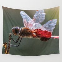 saxophone Wall Tapestries featuring Red Dragonfly Playing a Saxophone. by Chuck Buckner