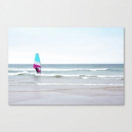 Windsurfer with Aqua and Magenta Canvas Print
