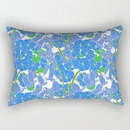 Morning Glory + Bluebells in White Rectangular Pillow