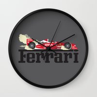 ferrari Wall Clocks featuring Ferrari F1 by Lewys Williams