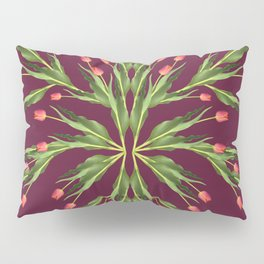 Burgundy and tulips Pillow Sham