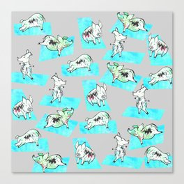 Aqua Yoga Pigs - Downward Facing Hog Canvas Print