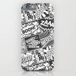 Black and White Modern Comic Book Superhero Pattern Color Colour Cartoon Lichtenstein Pop Art iPhone Case