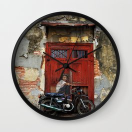A Boy On A Bike | Street Art Wall Clock