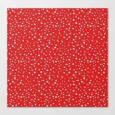 PolkaDots-White on Red Canvas Print