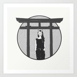 Kitsune Masked Girl Art Print