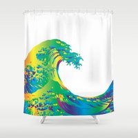 hokusai Shower Curtains featuring Hokusai Rainbow_A by FACTORIE