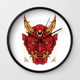 Japanese Demon Art Mask Devil Oni Harajuku T-Shirt Wall Clock