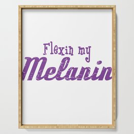 """Flexin' My Melanin"" T-shirt Design Black And Proud Dark Skin Afro Brown Skin Black Power Girl Woman Serving Tray"