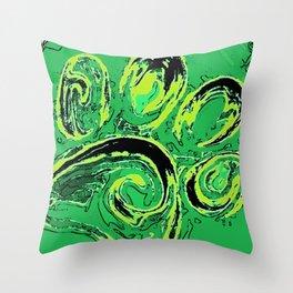 paw print_green Throw Pillow
