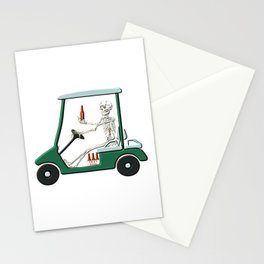 Old Timer Skeleton In Golf Cart Discovers Light Beer Stationery Cards