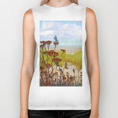 Plaid Beachscape with Dragonflies Biker Tank
