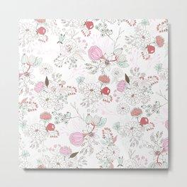Blush pink teal white elegant floral illustration Metal Print