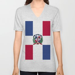 Dominican Republic flag emblem Unisex V-Neck