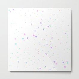 Pastel Rainbow Hexagon Chunky Glitter Art Metal Print