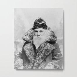 Santa Claus Vintage Black and White Photo, 1895 Metal Print