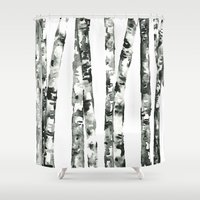 birch Shower Curtains featuring Birch    by kristinesarleyart