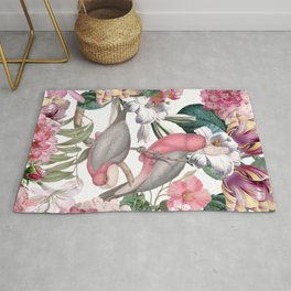 Vintage & Shabby Chic -Pink Parrots And Flowers  Rug