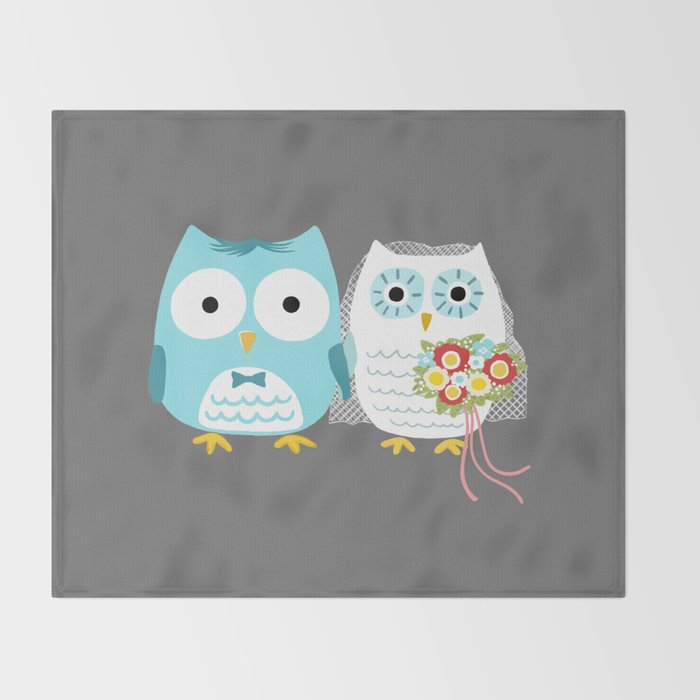 Owls Wedding Day Bride And Groom Throw Blanket By Mylifeisacartoon