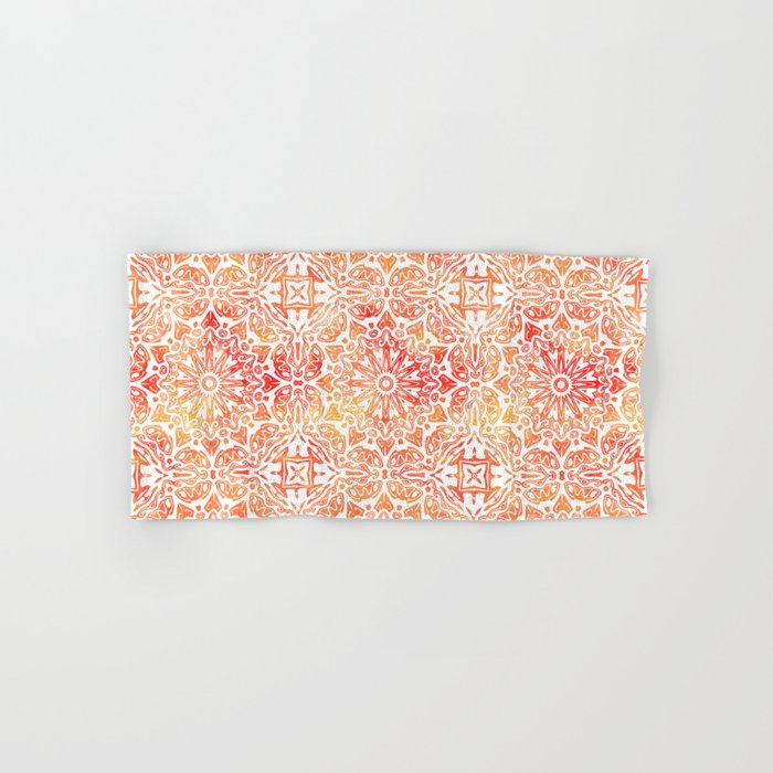 Oriental Watercolor ornament pattern yellow orange Hand & Bath Towel