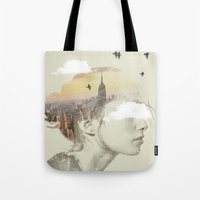 Tote Bags featuring New York City Drifting by Vin Zzep