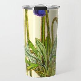 Purple Flowers Vintage Botanical Illustration Scientific Species Drawing Travel Mug