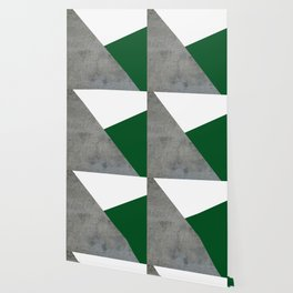 Concrete Festive Green White Wallpaper