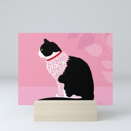 Typographic black and white lazy kitty cat on pink  #typography #catlover Mini Art Print