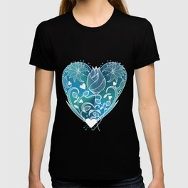 White Inked Floral Heart - Blues T-shirt