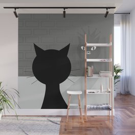 Black cat looks at his shadow #society6 #decor #buyart #artprint Wall Mural