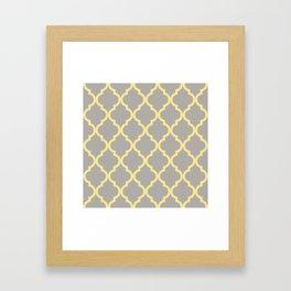 Quarterfoil Yellow and Grey Pillow Framed Art Print