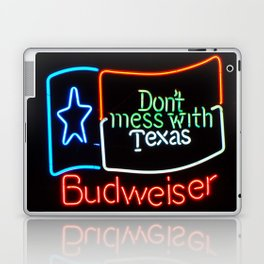 Don't Mess With Texas - Neon Beer Sign Laptop & iPad Skin