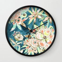 RUCKUS Navy Peach Watercolor Floral Wall Clock