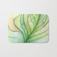 Green Watercolor Peacock Feather and Bubbles Bath Mat