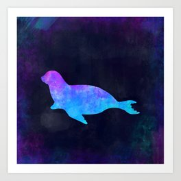 SEAL IN SPACE // Animal Graphic Art // Watercolor Canvas Painting // Modern Minimal Cute Art Print