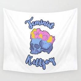 Feminist Killjoy Print with Flower Crown Skull Wall Tapestry